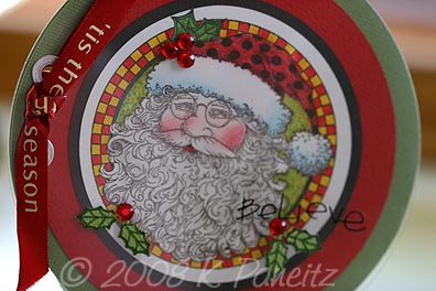 Believe Stamped Santa Card