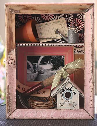 Shabby Pink Garden Shadowbox1