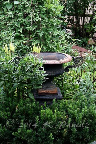 Vintage Black Iron Urn