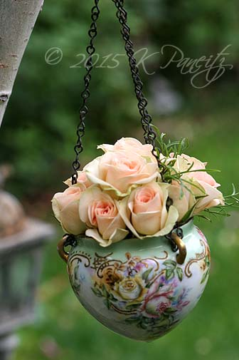 Antique Jardiniere & roses9