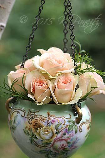 Antique Jardiniere & roses7
