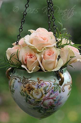 Antique Jardiniere & roses6